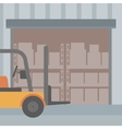 Background of forklift truck and cardboard boxes vector image