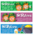 cartoon saint patrick day horizontal banners vector image