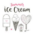 collection of cartoon ice cream set cones and vector image
