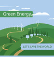 landscape with wind turbines and solar panels vector image