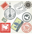 made in china grunge rubber stamps set vector image