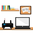 office work place isolated icon design vector image
