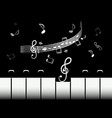 piano keys with staff and notes black and white vector image