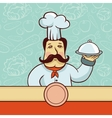 cartoon character - chef cook with plate vector image