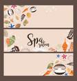 spa salon banners with sea shells vector image