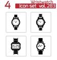 black wristwatch icons set vector image
