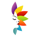 Face with colorful leaves vector image