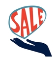 Concept card for sales hand holding handwritten vector image vector image