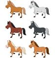 Cartoon horse collection set isolated on white bac vector image