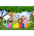 Word animal with cartoon animal vector image