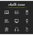 Electronic equipment chalk icons set vector image