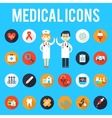 Medical tools and medical staff flat icons vector image