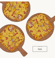 pizza on the wooden board hand draw sketch vector image