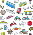 Transport colorful pattern icons vector image