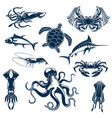 sea fish and ocean animals isolated icons vector image vector image
