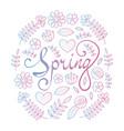 spring lettering in floral pattern round frame vector image