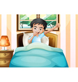 A boy waking up early vector image vector image