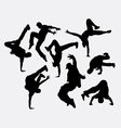People breakdance silhouettes vector image