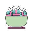 christmas sledge full gifts box decoration vector image