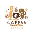 coffee hand drawn original logo design with mugs vector image