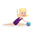 cute blonde little girl performing gymnastic vector image