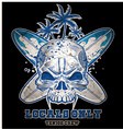 skull with surfboard vector image