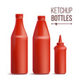 tomato ketchup bottle set 3d realistic vector image