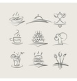 food and utensils set of vector image vector image