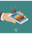 Online TV flat isometric concept vector image
