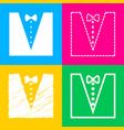 Tuxedo with bow silhouette four styles of icon on vector image
