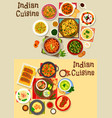 indian cuisine healthy dinner icon set design vector image