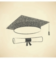 Scribble graduation cap and diploma vector image vector image