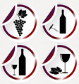 Vintage wine icons on round stickers with curved vector image vector image