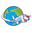 cartoon plane flying around the globe vector image
