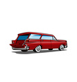 Red Car Station Wagon Back View vector image