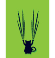 Black Cat Silhouette with Scratches6 vector image