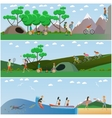 set of summer outdoor activities concept vector image