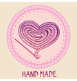 hand made emblem - thread and needle vector image
