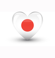 Heart-shaped icon with national flag of Japan vector image vector image