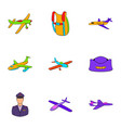 air force icons set cartoon style vector image