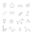 Dog icons outline vector image