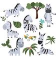 Set funny zebras vector image