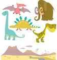 Set of cartoon dinosaurs vector image vector image