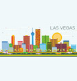 las vegas skyline with color buildings and blue vector image
