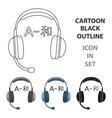 Headphones with translator icon in cartoon style vector image
