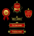 Collection of golden-red labels - product quality vector image