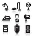 Household appliances icon set Black sign on white vector image