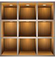 3d wooden shelves vector image vector image