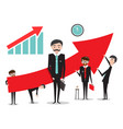 big red arrow with businessmen success graph vector image