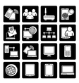 Black Communication and technology equipment icons vector image